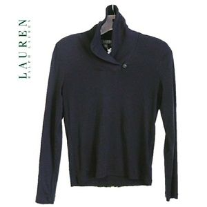 LAUREN RALPH LAUREN BLK SHAWL BUTTON COLLAR TOP
